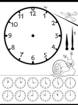 아이들을위한 시계 얼굴 교육 워크 시트