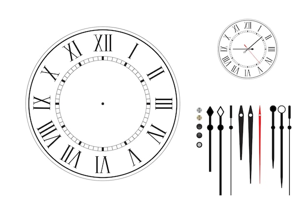 Clock  face in retro style with roman numerals. constructor set. different types of hour hands. black dial on white background