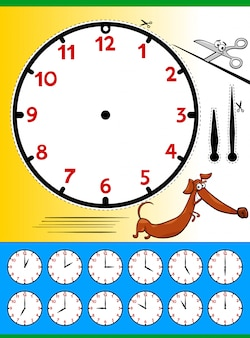 Clock face telling time educational page for kids