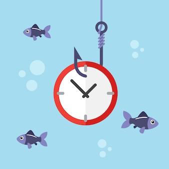 Clock on fishing hook
