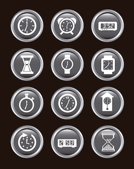 Clock icons over black background vector illustration
