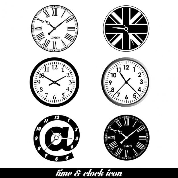 Free Clock icons set design SVG DXF EPS PNG - Free SVG Cut Files