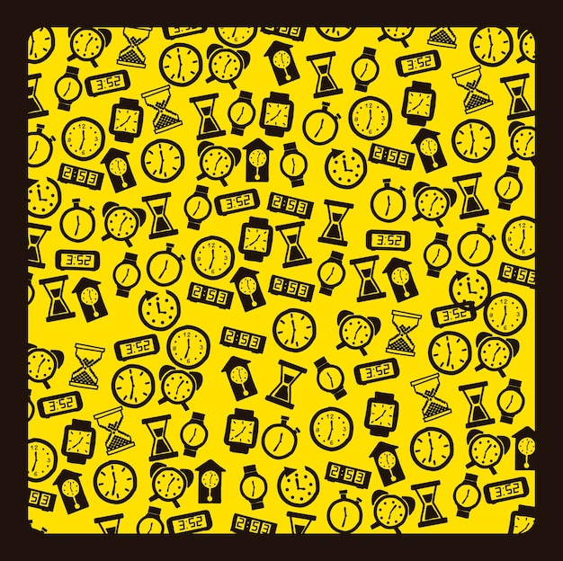 Clock icons over yellow background vector illustration