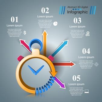 Часы инфографические