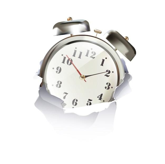 白い背景の上に穴の紙の中の時計