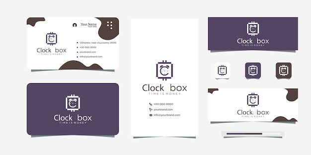 Clock logo with currency sign and business card