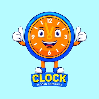 Clock mascot cartoon in flat design style
