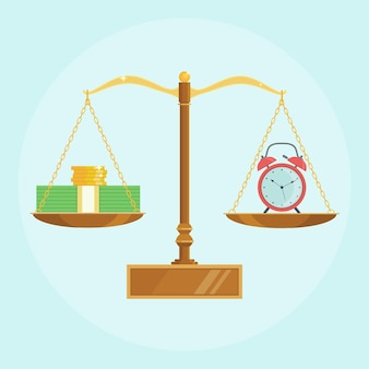 Clock, money on balance scales. annual revenue of bank deposit, financial investment. time is money