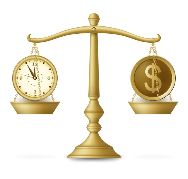 Clock and money on balanced scale. business concept.  illustration.