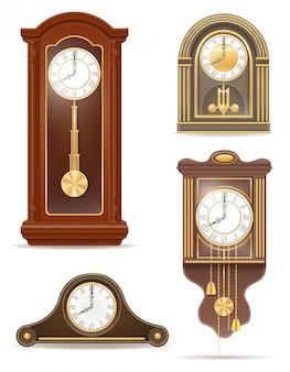 Clock old retro set vector illustration