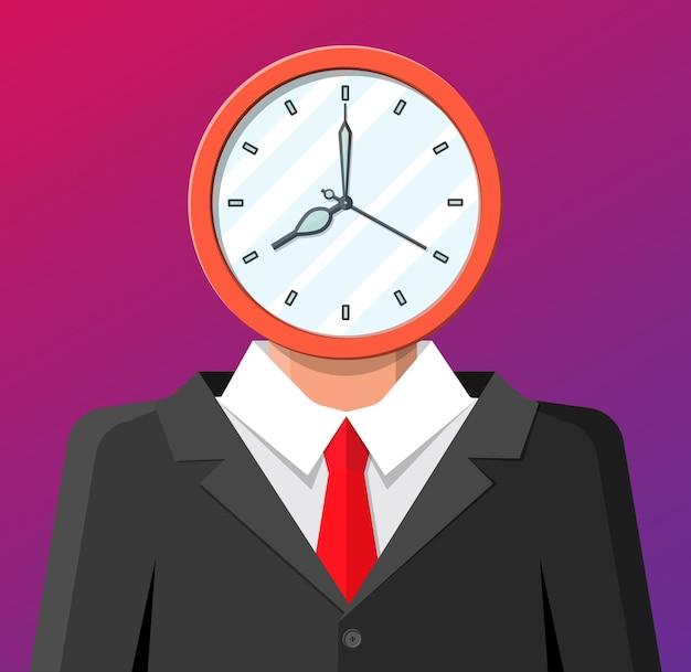 사업가 머리에 시계. 시계 얼굴. 시간은 돈 개념입니다. 시간 관리. 제어 전략 및 작업, 비즈니스 프로젝트 계획, 마감일.