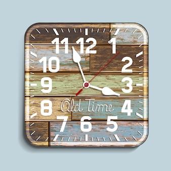 古い木の背景の時計。