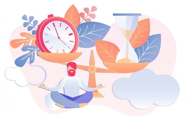 Clock and sandglass on scales businessman meditate
