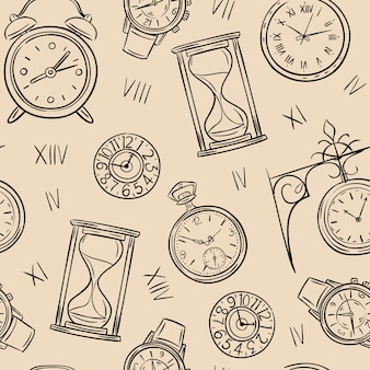 Clock seamless pattern. sketch time, sketch hourglass and mechanic watch, timepiece  vintage texture