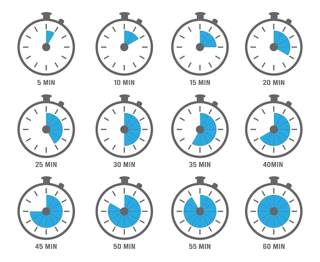 Clock symbols. timers minutes and hours circle graph objects. clock with seconds and minutes illustration