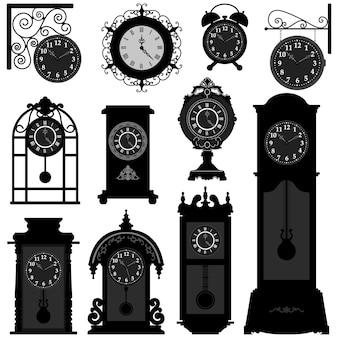 시계 시간 골동품 빈티지 고대 고전 오래 된 전통적인 레트로. 자세히 골동품 오래된 시계 디자인 세트.