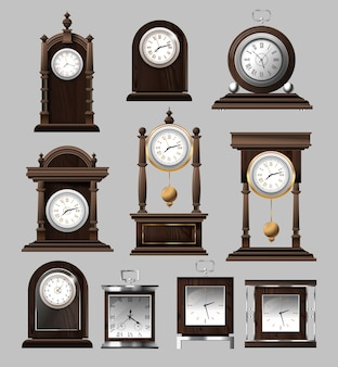 Clock time antique vintage ancient classic old traditional retro. set of antique old realistic clocks.