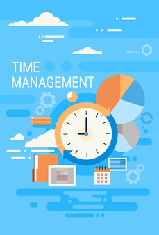 Clock time management concept abstract