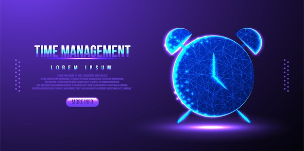 Clock, timer, time, management low poly wireframe mesh design