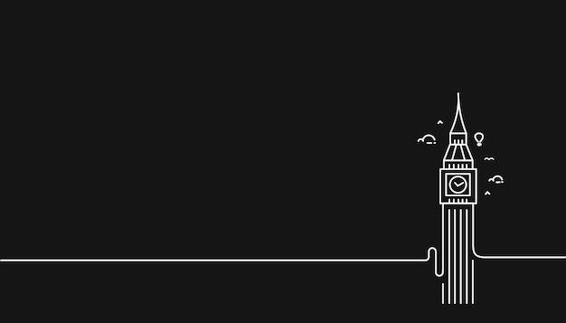 A clock tower hand drawn, big ben london - outline for design vector illustration Premium Vector