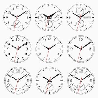 時計コレクション。秒矢印付きの文字盤のセット。
