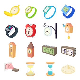 Clock and watch icons set in cartoon style vector