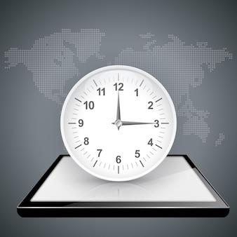 Clock, watch on the digital gadget.