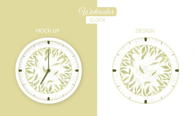 Часы акварель бумажные листья
