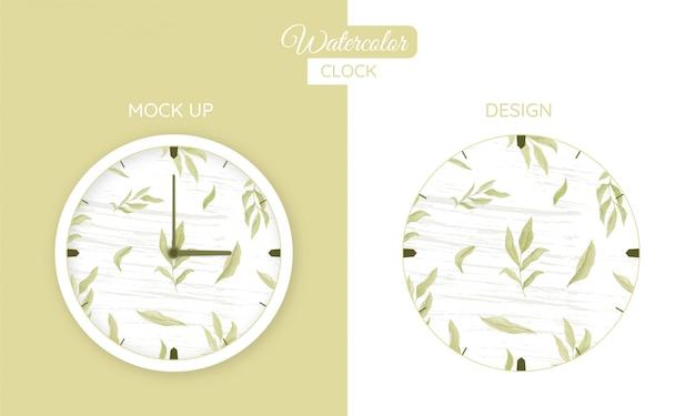 Часы акварельная бумага