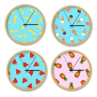 Clock with banana pattern set gradient mesh,  illustration