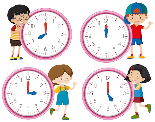Clock with children character