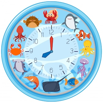 A clock with sea creature template