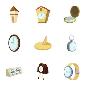Clocks, time icons set, cartoon style