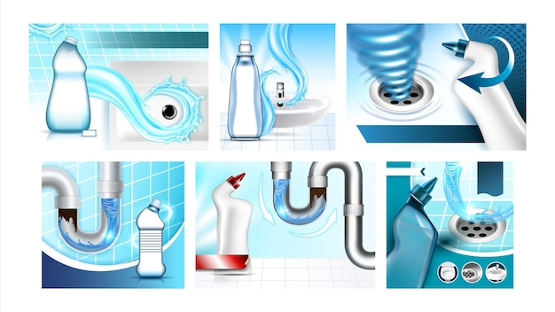 Забитые канализационные очистители промо-плакаты набор векторных. пустые бутылки с жидкостью для очистки слива, отверстие для раковины и засоренная труба на коллекции рекламных маркетинговых баннеров. стиль цвет концепции шаблон иллюстрации