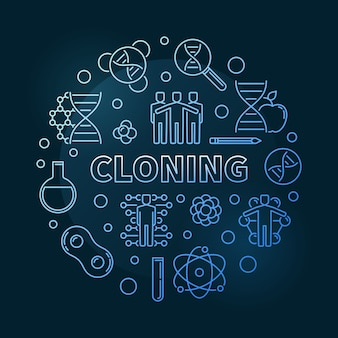 Cloning blue modern outline round icon illustration
