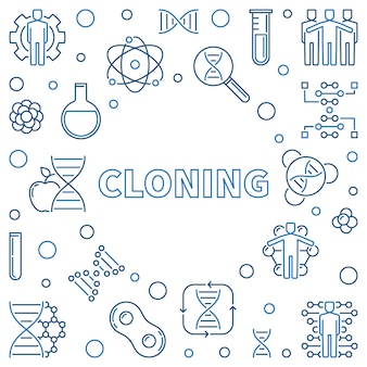 Cloning vector minimal concept illustration in outline style