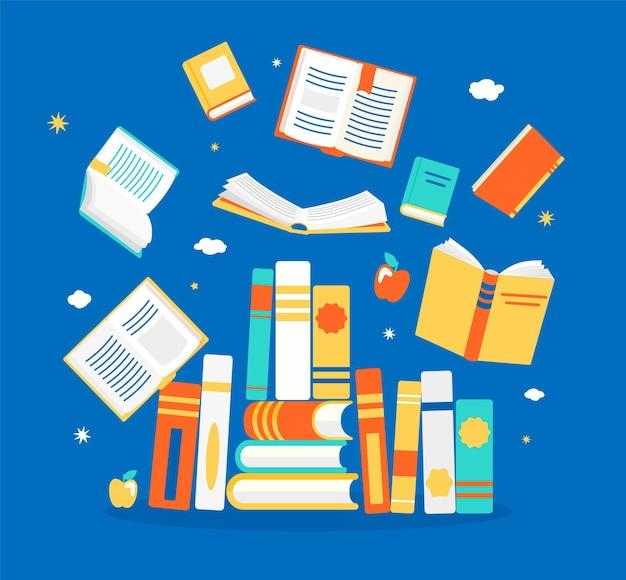 さまざまな位置で本を閉じたり開いたりします。知識、学習、教育、リラックスしてコンセプトデザインをお楽しみください。フラットスタイルのベクトルイラスト。