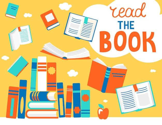 バブルで本を読んで、さまざまな位置で本を閉じたり開いたりします。知識、学習、教育、リラックスしてコンセプトデザインをお楽しみください。フラットスタイルのベクトルイラスト。