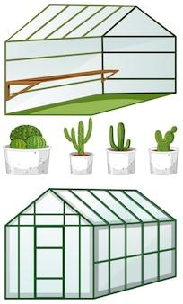 鉢植えの多くの植物がある空の温室の開閉ビュー