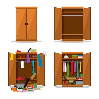 Закройте и откройте гардероб, до того, как он запачкается, и после того, как будет убран шкаф с беспорядком.