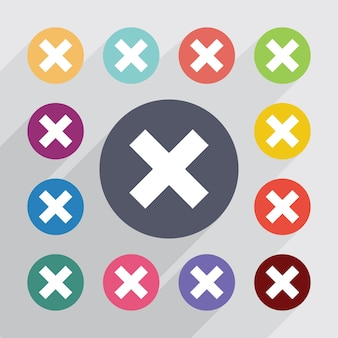 Close circle, flat icons set. round colourful buttons. vector