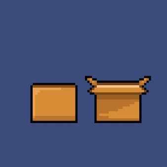 Close and open box with pixel art style