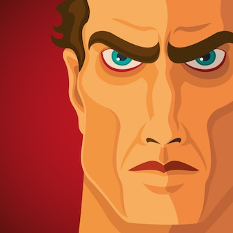 Close up of angry man Premium Vector