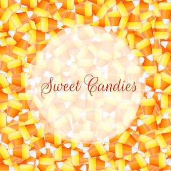 A close up background pile of candy corn