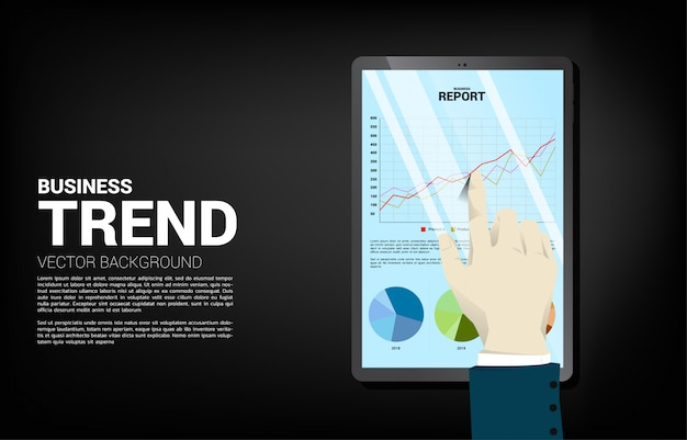 Close up businessman hand touch business graph report in tablet. concept for digital business growth and trend report