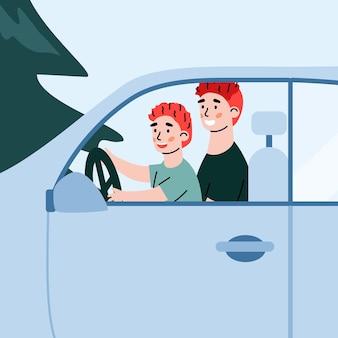 만화 벡터 일러스트 레이 션을 운전하는 아이를 가르치는 아버지와 함께 차를 닫습니다