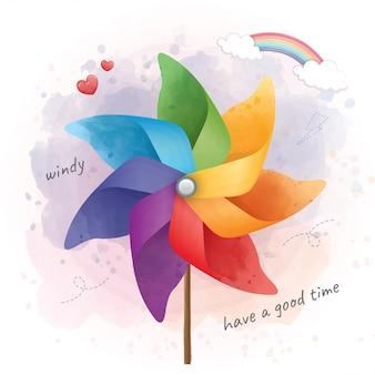 Close up colorful pinwheel on have a good time.