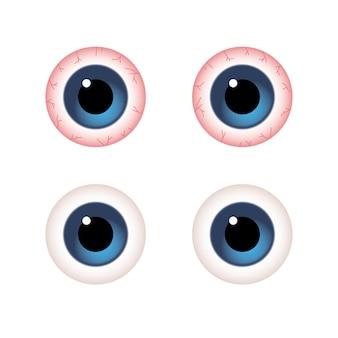 Сравнение крупным планом обычных глаз и красных глаз болезни