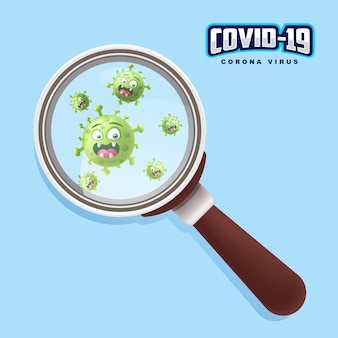 Close up covid19 with magnifying glass_corona virus