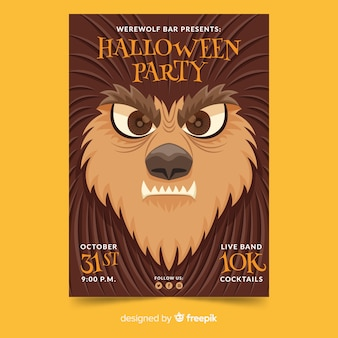 Close-up creature face halloween party poster template